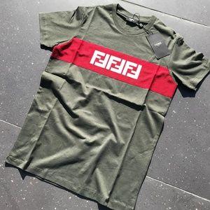 F E N D I R O M A Men's T- shirt GREEN NWT Cotton